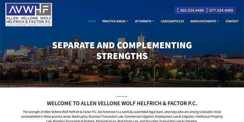 Allen Vellone Wolf Helfrich and Factor P.C. law website.