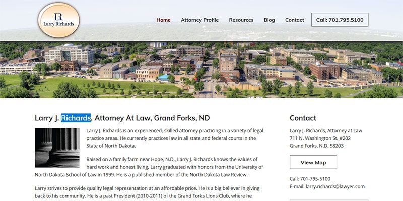 Larry J. Richards attorney website.