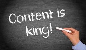 Online Marketing For Attorneys Content Is King Written On Chalkboard.